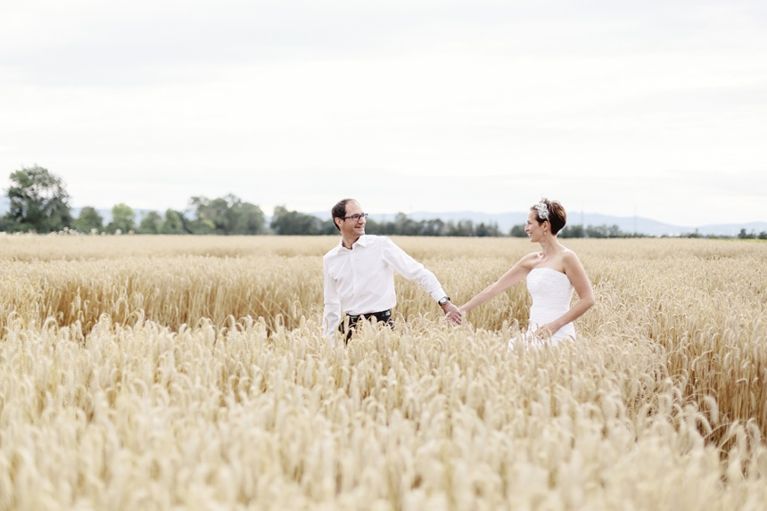 After wedding shooting in a field of gold.